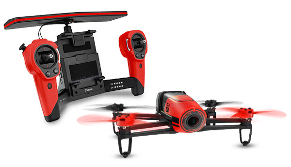 Parrot Bebop drone with its Skycontroller radio-control