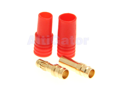 3.5 mm bullet connectors pair - red